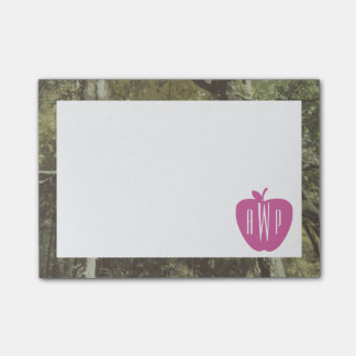 Camouflage + Pink Apple Monogrammed Teacher Post-it® Notes