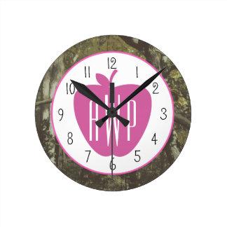 Camouflage + Pink Apple Monogrammed Teacher Round Clock