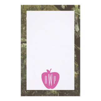 Camouflage + Pink Apple Monogrammed Teacher Stationery