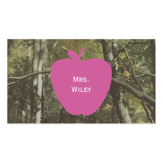 Camouflage + Pink Apple Teacher Business Card
