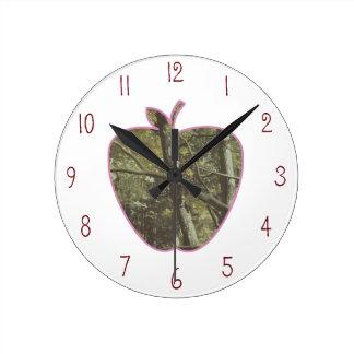 Camouflage + Pink Apple Teacher Round Clock
