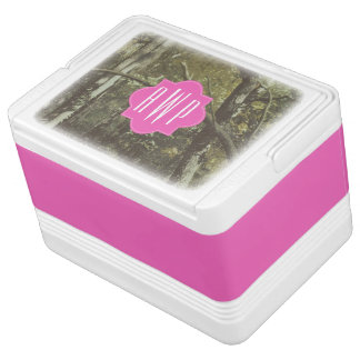 Camouflage + Pink Monogram Drink Cooler