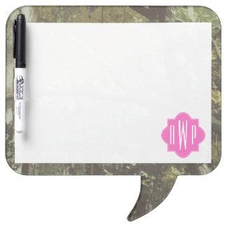 Camouflage + Pink Monogram Dry-Erase Board