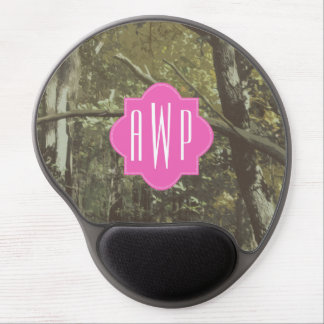 Camouflage + Pink Monogram Gel Mouse Pad