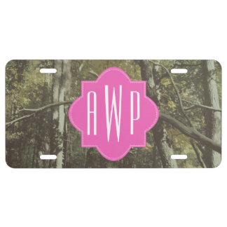 Camouflage + Pink Monogram License Plate
