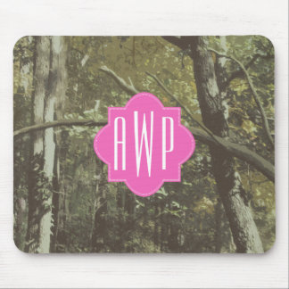 Camouflage + Pink Monogram Mouse Pad