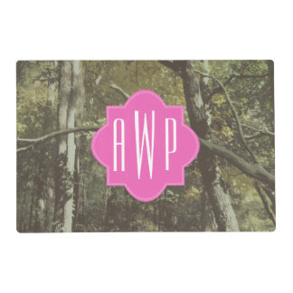 Camouflage + Pink Monogram Placemat