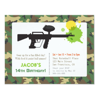 Camouflage Print Paint ball Birthday Party Card