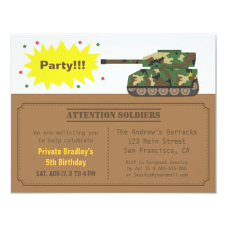 Camouflage Print Tank Boy Birthday Party Personalized Invitations