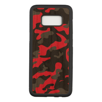 Camouflage Red Black Como Army Military Print Carved Samsung Galaxy S8 Case