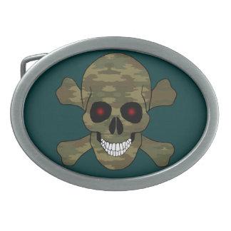 Camouflage Red Eye Skull And Crossbone Belt Buckle