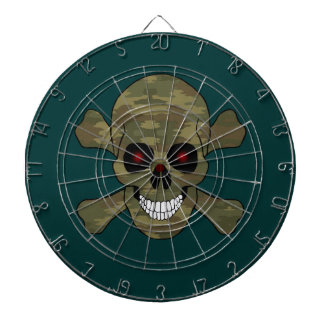 Camouflage Red Eye Skull And Crossbones Dart Board