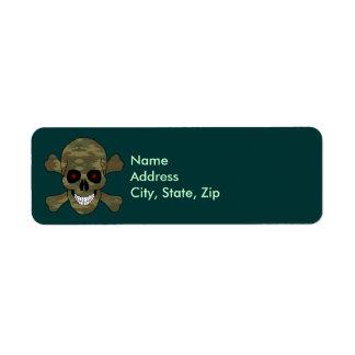 Camouflage Red Eye Skull Crossbones Address Labels