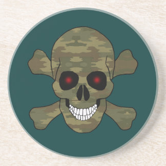 Camouflage Red Eyes Skull And Crossbones Coaster