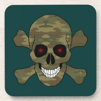 Camouflage Red Eyes Skull And Crossbones Coasters