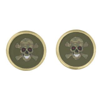 Camouflage Red Eyes Skull And Crossbones Cufflinks