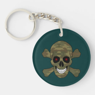 Camouflage Red Eyes Skull And Crossbones Key Chain