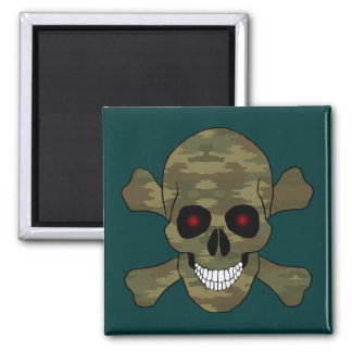 Camouflage Red Eyes Skull And Crossbones Magnet