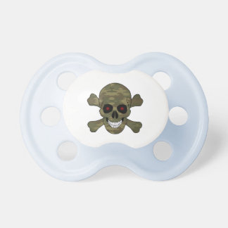 Camouflage Red Eyes Skull And Crossbones Pacifier
