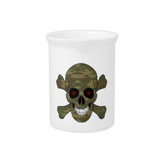 Camouflage Red Eyes Skull And Crossbones Pitcher