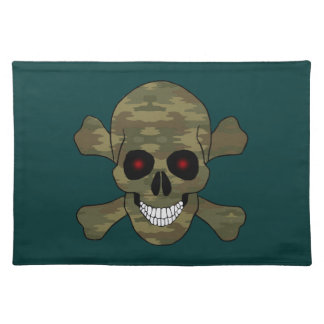 Camouflage Red Eyes Skull And Crossbones Placemat