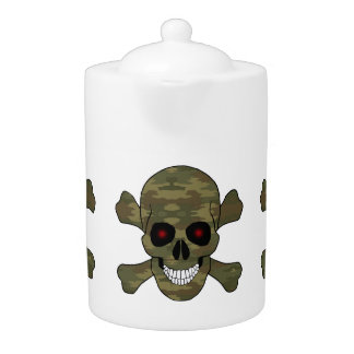 Camouflage Red Eyes Skull And Crossbones Teapot