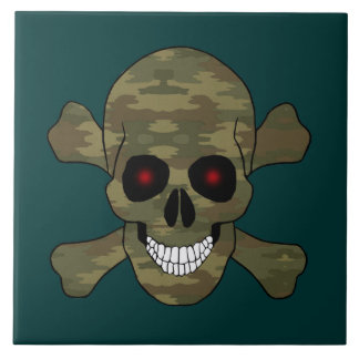 Camouflage Red Eyes Skull And Crossbones Tile