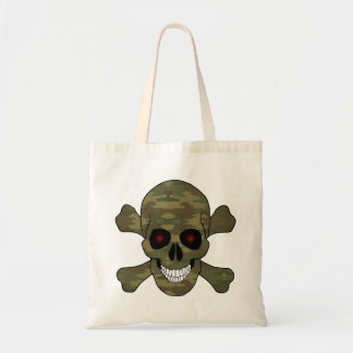 Camouflage Red Eyes Skull And Crossbones Tote Bag