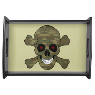 Camouflage Red Eyes Skull Crossbones Serving Tray