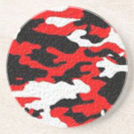 Camouflage Red Patterns Coaster