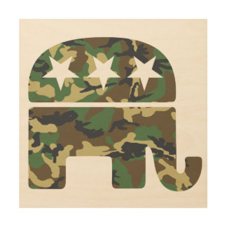 Camouflage Republican Elephant Wood Wall Art