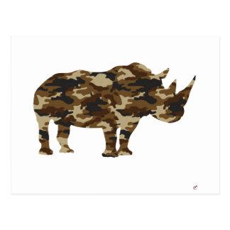 Camouflage Rhinoceros Silhouette Postcard