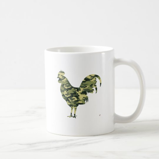 Camouflage Rooster Silhouette Coffee Mug