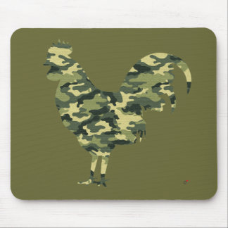 Camouflage Rooster Silhouette Mouse Pad