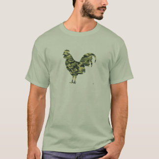 Camouflage Rooster Silhouette T-Shirt