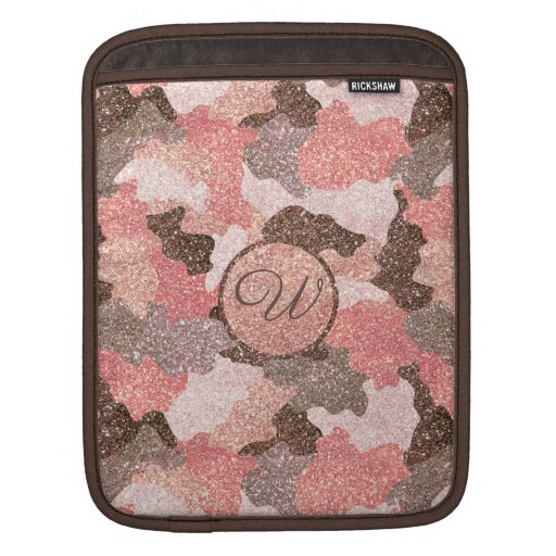 Camouflage Rose Gold Glitter Camo Script Monogram iPad Sleeve
