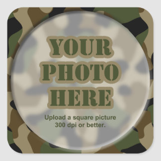 Camouflage Round Frame Square Sticker