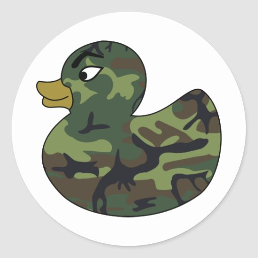 Camouflage Rubber Duck Round Stickers