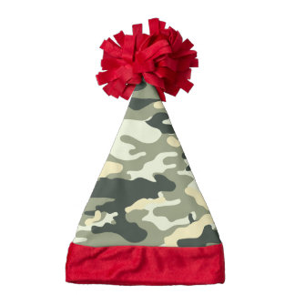 Camouflage Santa Hat With Red Trim