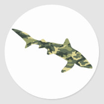 Camouflage Shark Silhouette Classic Round Sticker
