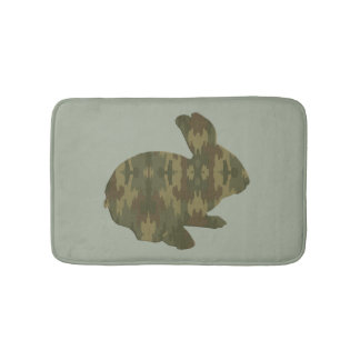 Camouflage Silhouette Bunny Rabbit Bath Mat