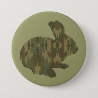 Camouflage Silhouette Easter Bunny Button