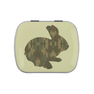 Camouflage Silhouette Easter Bunny Candy Tin