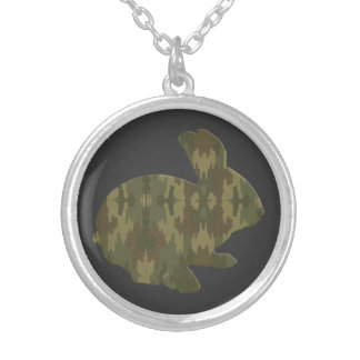Camouflage Silhouette Easter Bunny Necklace