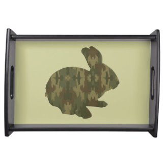 Camouflage Silhouette Easter Bunny Serving Tray