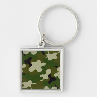 Camouflage Silver-Colored Square Keychain