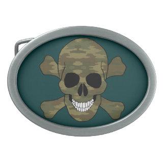 Camouflage Skull And Crossbones Belt Buckle