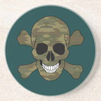 Camouflage Skull And Crossbones Coaster