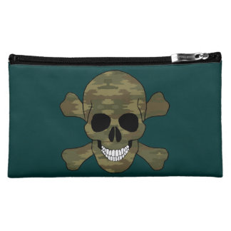 Camouflage Skull And Crossbones Cosmetic Bag