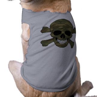 Camouflage Skull And Crossbones Dog Shirt